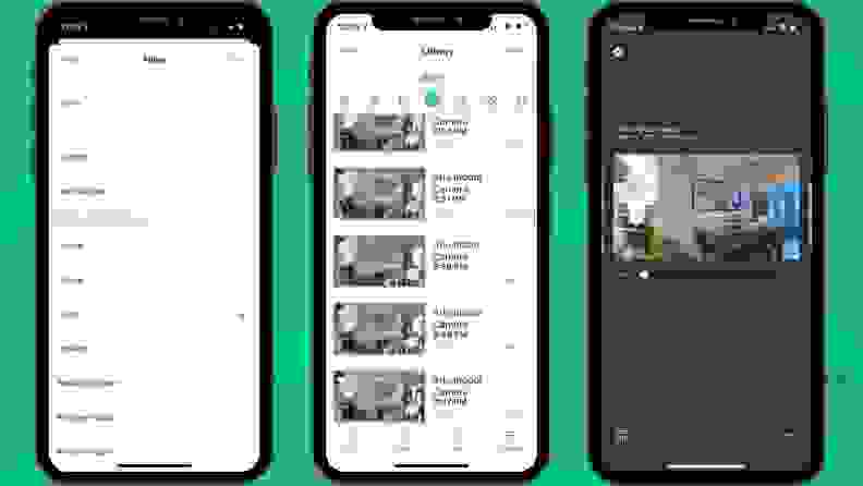 Three screenshots from the Arlo app detailing out how the Arlo Essential Indoor Security Camera sends notifications.