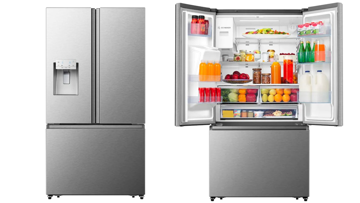 Two Hisense HRF254N6TSE fridges side by side. On the left, its doors are closed. On the right, its two main doors are open, revealing the interior of the refrigeration compartment, which is fully stocked with food.