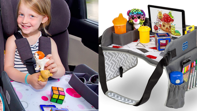 A child plays with a travel table in the back seat of a vehicle.