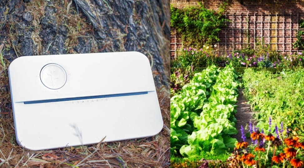 Our favorite smart sprinkler, the Rachio 3, is pictured next to a garden.