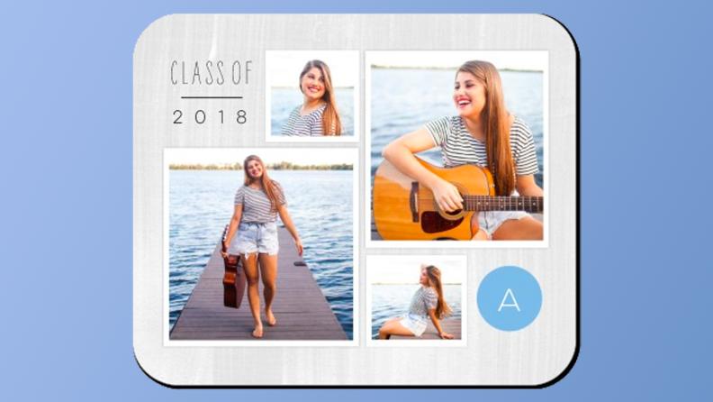 A mousepad featuring graduation photos