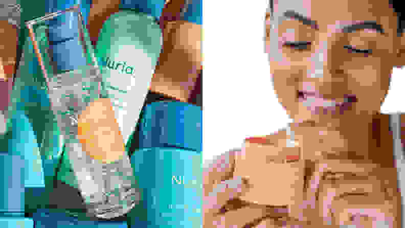 The Nuria Defend Skin Shielding Essence laying on several products from the line.
