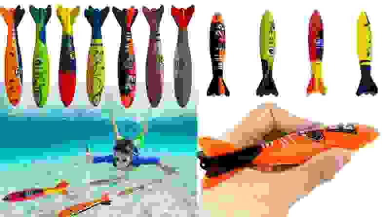 A bunch of torpedo toys and a boy diving for them