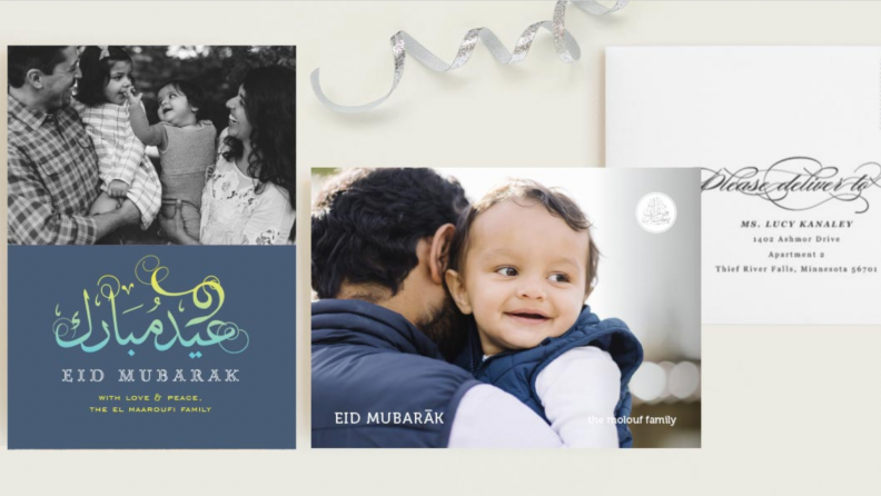 Examples of Ramadan cards and family photos.