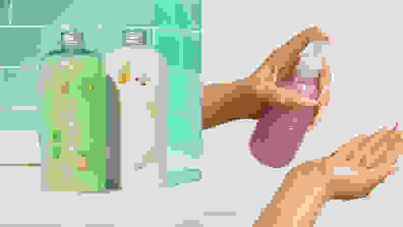 On the left: A green Function of Beauty shampoo and a white conditioner sit on the side of a white tub with a green tiled background. On the right: A person holds their right hand out and pumps a pink shampoo with their left hand.