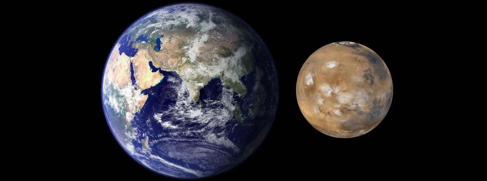 A size comparison of Earth and Mars.