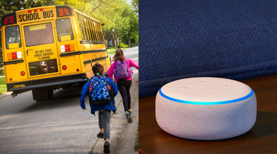 Kids on school bus and Echo Dot