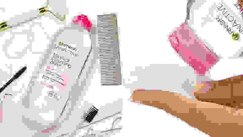 On the left: The Garnier SkinActive Micellar Cleansing Water laying on a white surface with beauty products laying all around it. On the right: A person's hand holds a round cotton pad and the Garnier micellar water hovers above it to dispense formula.