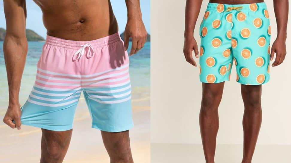 Men Swimming Trunks Board Shorts Side Split Drawstring Elastic Waist Athletic Shorts