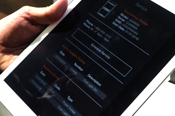 A view of the Jenn-Air app, which allows for remote control and diagnostics.