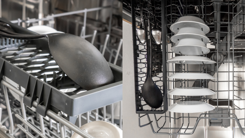 Two side by side images of a dishwasher's upper rack that is full of dishes and serving spoons