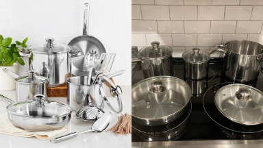 A side by side image of a stainless steel cookware set: on the left, they are artfully arranged to display every piece of equipment, on the right, you see them in action on a stovetop in a kitchen.