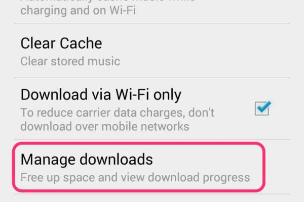 Google Play Music App Settings Menu