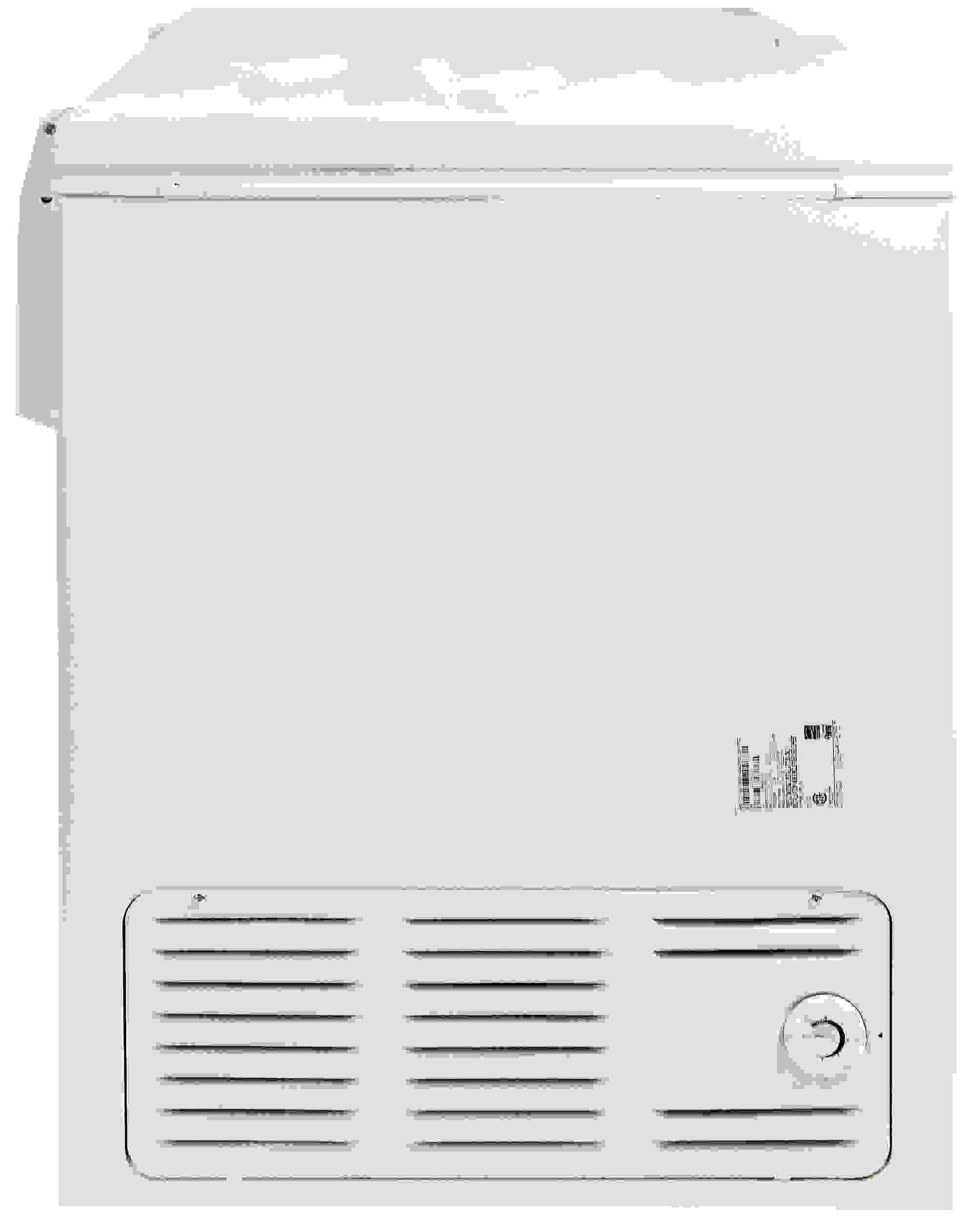 The controls are found on the left side of the Kenmore 16542, along with an air vent; the right side is featureless.