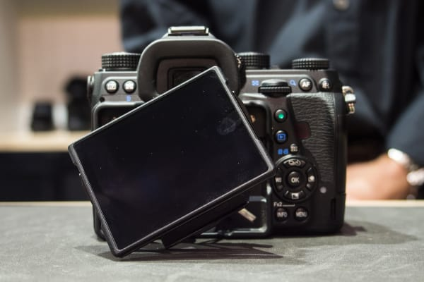 Unlike other DSLRs' tilting screens, the K-1's can rotate on its axis and tilt in virtually any direction.