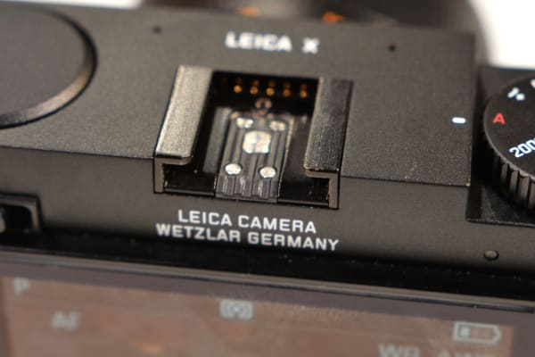 The Leica X includes a hot shoe for attaching the EVF and other accessories.