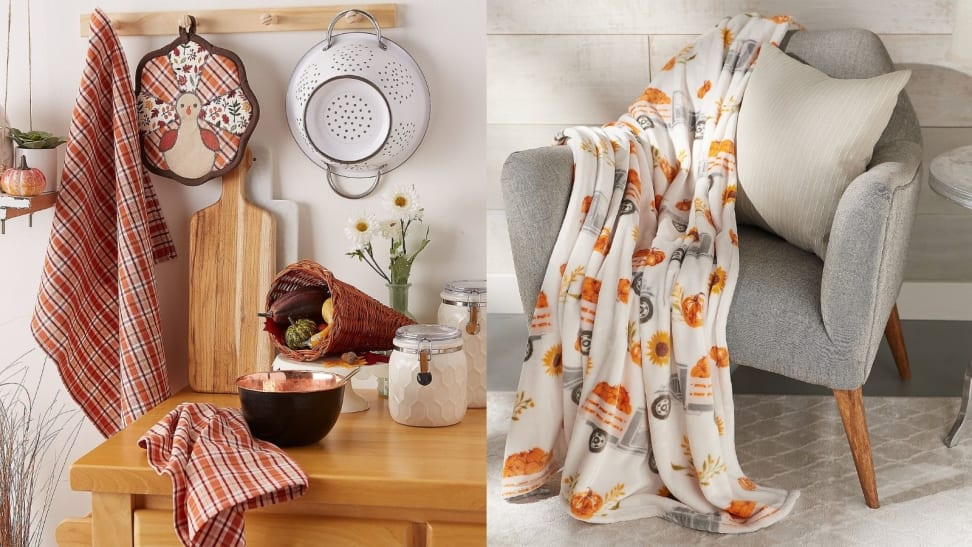 Fall home goods on table and pumpkin blanket on chair