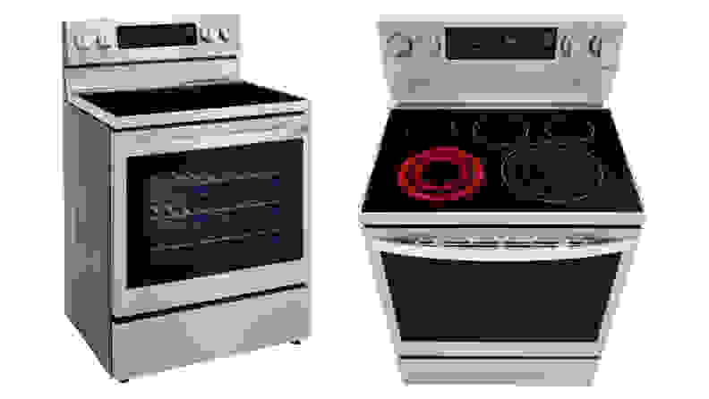 A shot of the LG LREL6325F Electric Range from an angle and a shot of the LG LREL6325F Electric Range from above.