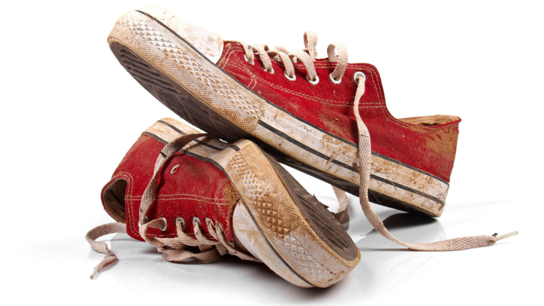 Dirty and stained red Converse