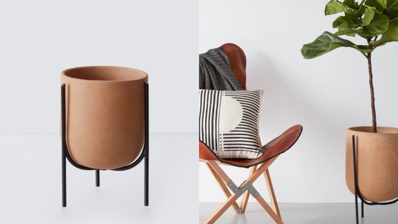 Left: up close image of the clay planter, Right: planter with plant in it next to a stylish folding chair with a throw pillow
