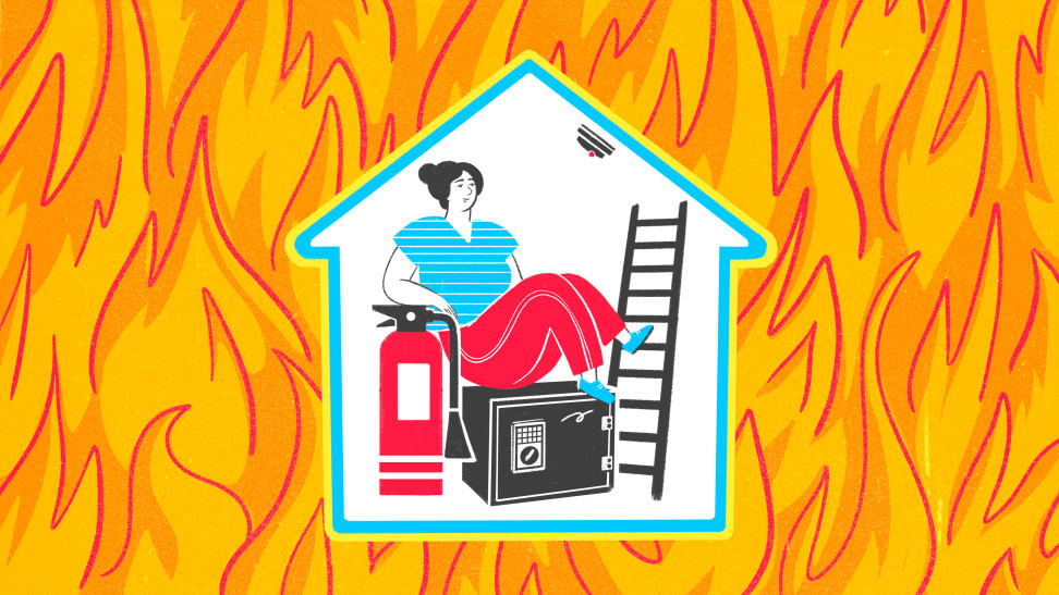 Illustration of person in a house with fire safety products surrounded by a background of fire