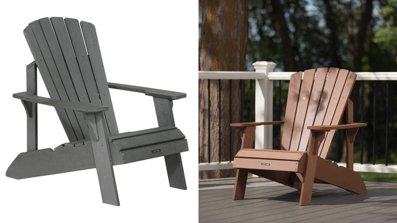 a gray Adirondack chair, next to a brown Adirondack chair on a deck