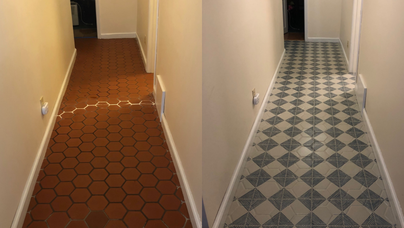 hallway stenciling before and after