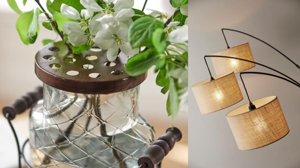 Planter and floor lamp from Home Depot