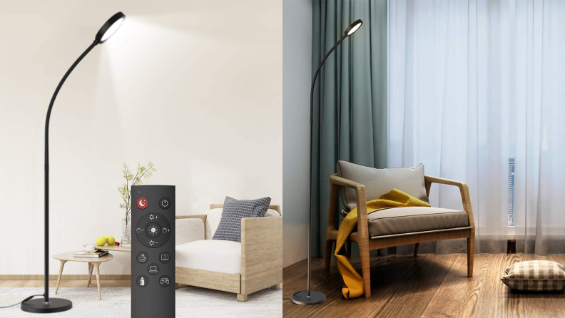 A Dodocool floor lamp illuminates a living room with a remote control.