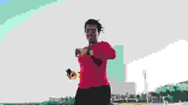 A woman running outdoors.