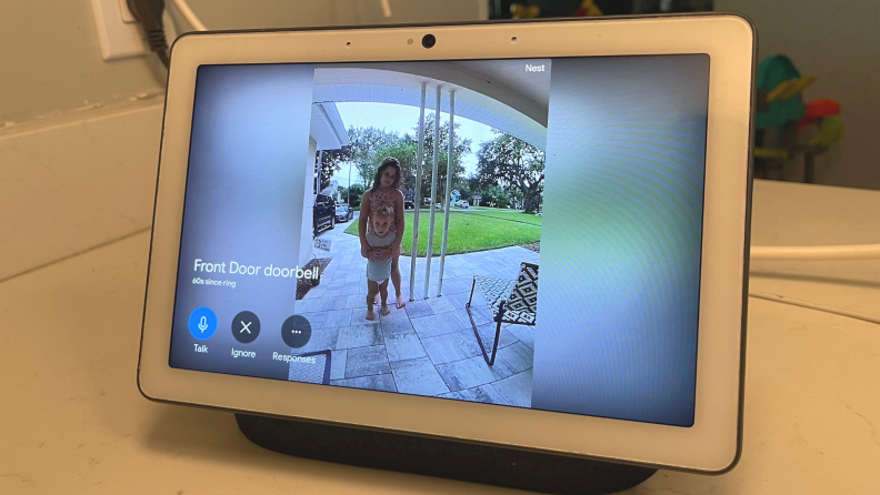 The new Nest Doorbell (battery) rings to the Nest Hub Max smart display.