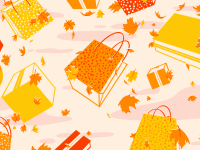 Fall-themed shopping bags and leaves