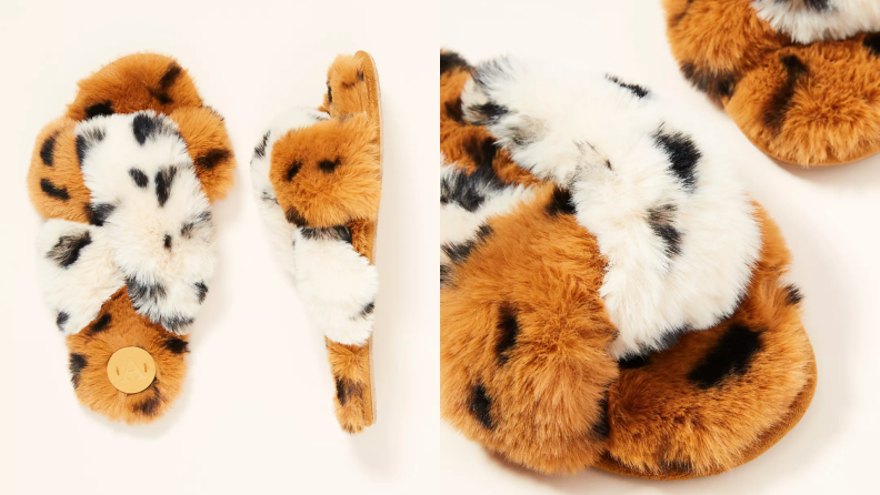Two product shots of fuzzy tan, black and white Lexie slippers from Anthropologie