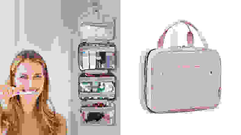 On the left: A person with blonde hair smiles while brushing her teeth. A Bagsmart cosmetic case hangs on the wall behind them. On the right: A pink Bagsmart cosmetic bag sits upright with its pocket zipped shut and handles standing up.