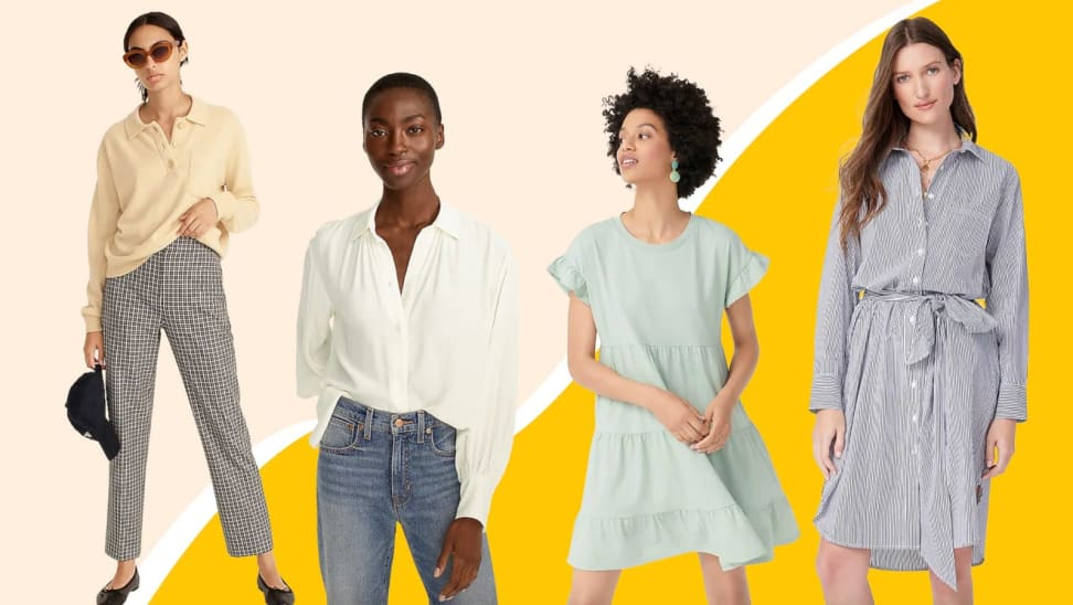 Stylish women's clothes against a yellow background