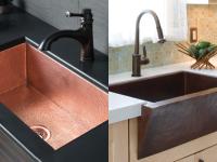 On left, antique copper sink in kitchen. On right, antique copper farmhouse sink in kitchen.