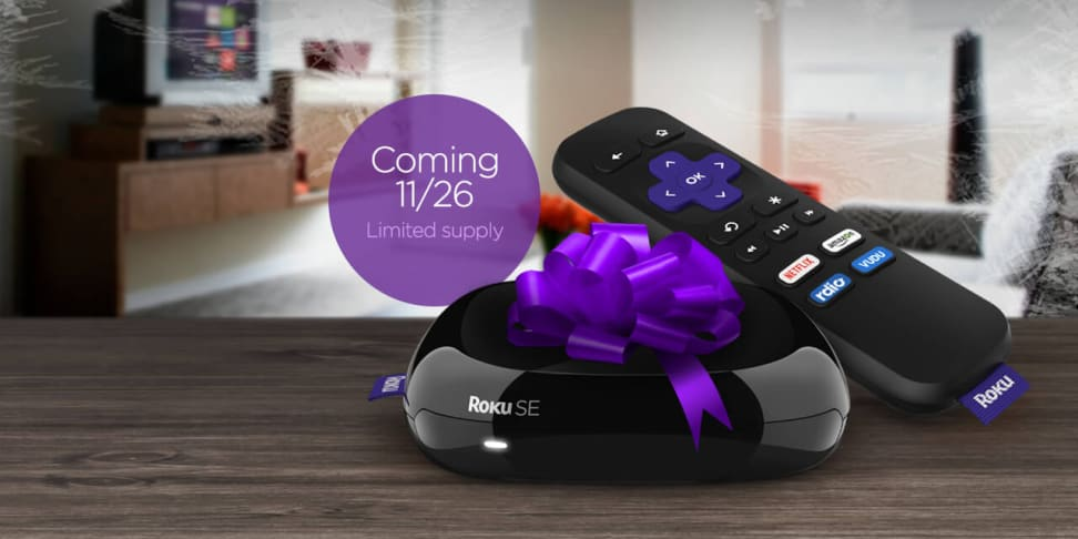 Roku SE and remote on a table