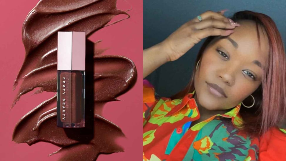 On the left: The Fenty Beauty Gloss Bomb Universal Lip Luminizer in a chocolate brown shade laying on a hot pink background with lip gloss swatched in a zig-zag pattern behind it. On the right: The author smiling at the camera while wearing products from Fenty Beauty.