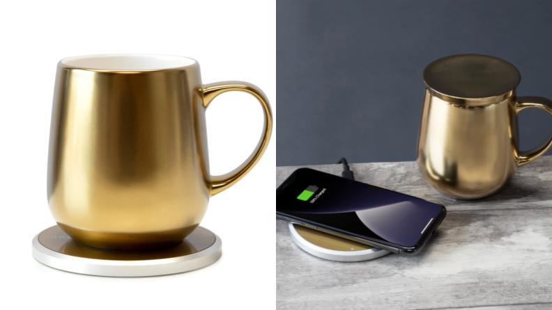 On left, product shot of gold Ui Mug & Warmer Set. On right, gold Ui Mug & Warmer Set next to charging phone