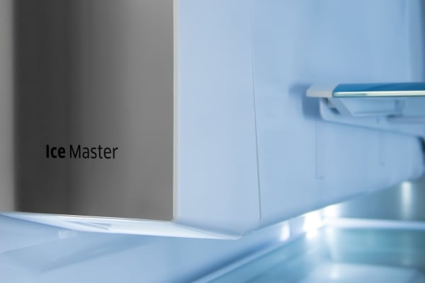 The slim icemaker produces plenty of ice without taking up a lot of room in the fridge.