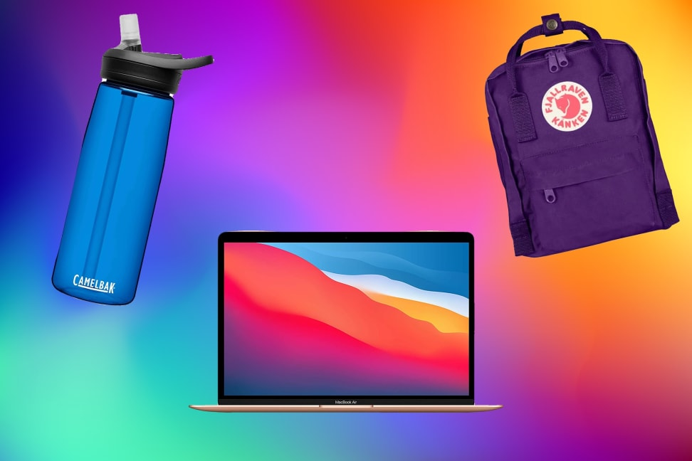 Rainbow background with a blue water bottle, Apple laptop, and small purple backpack