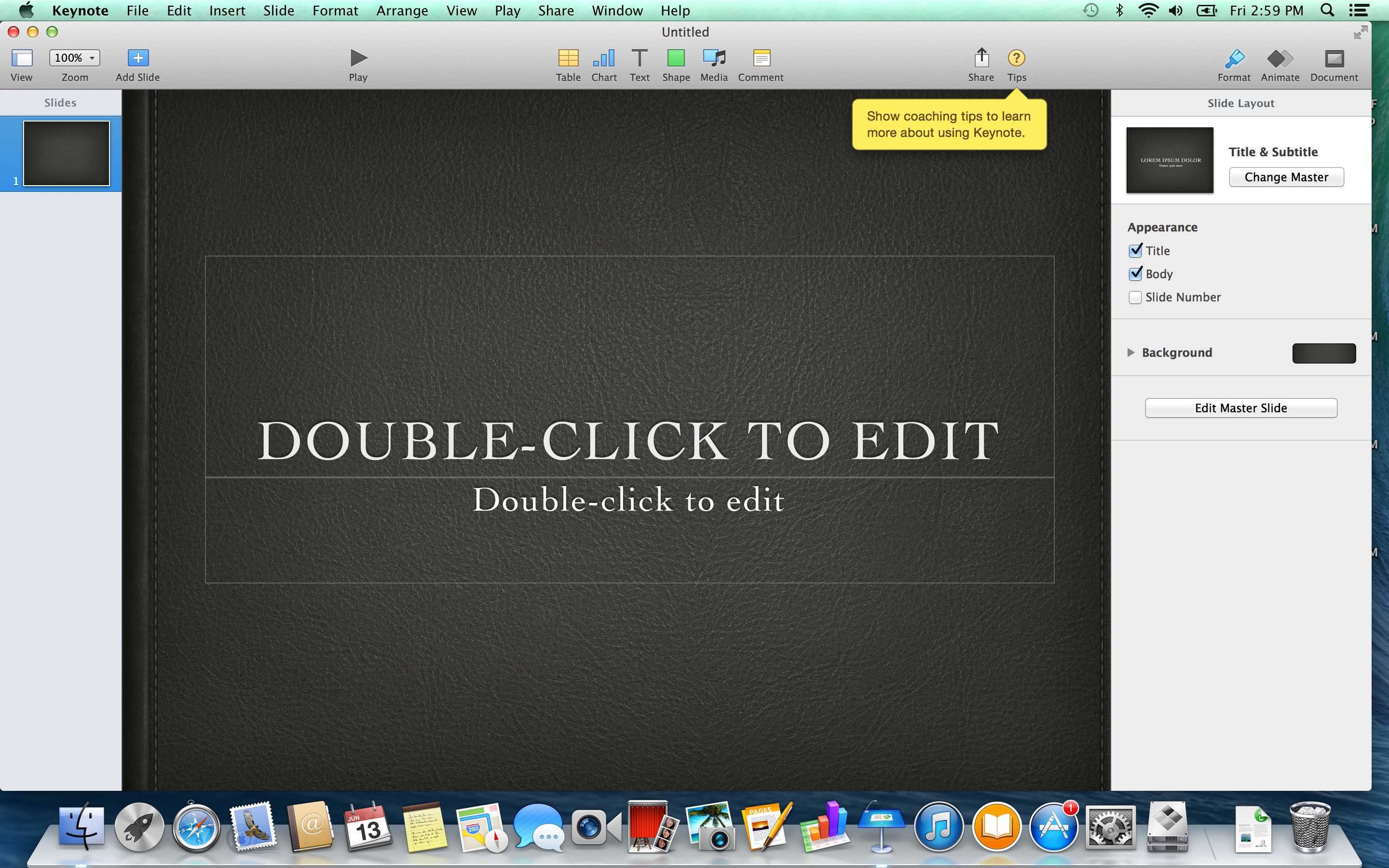 A screenshot of the Apple MacBook Pro with Retina Display's Keynote software.