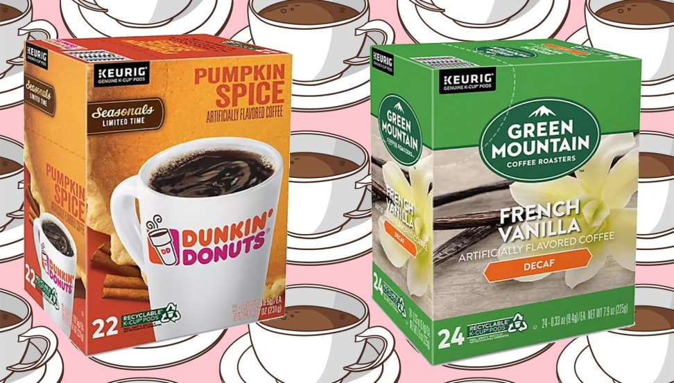 A box of Dunkin and Green Mountain K-Cups on a brightly patterned coffee background.