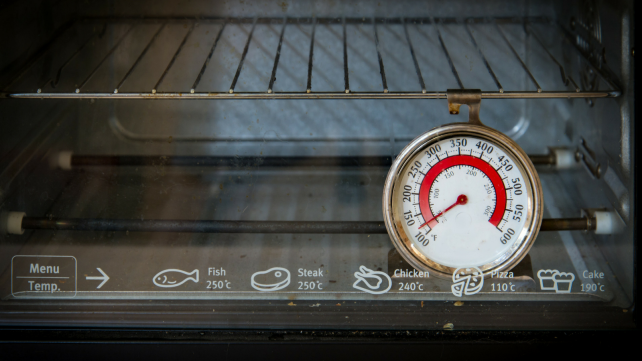 How to preheat your oven - thermometer