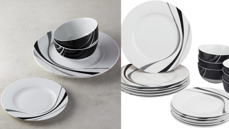 Two side by side shots of black and white 18-Piece Kitchen Dinnerware Set from Amazon.