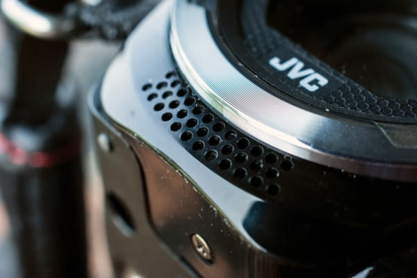 The microphone for the The GZ-R10 is located right up front and allows for