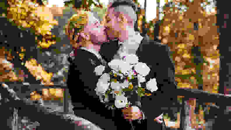 gay couple kissing for the marriage