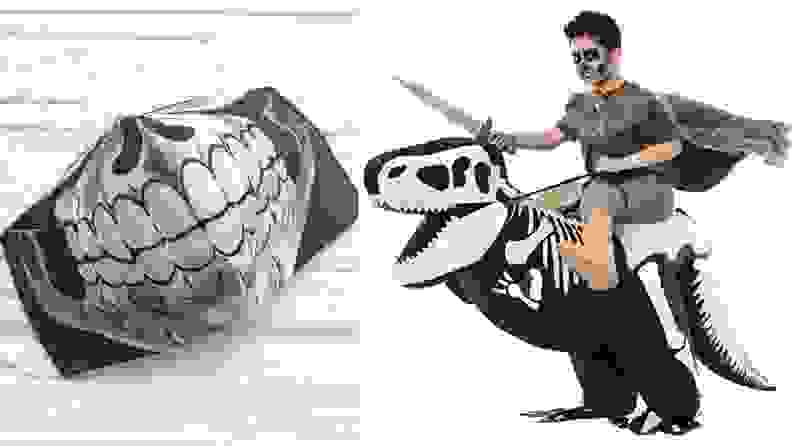 A skull jaw COVID mask and a Halloween costume that's a demon riding a dinosaur skeleton