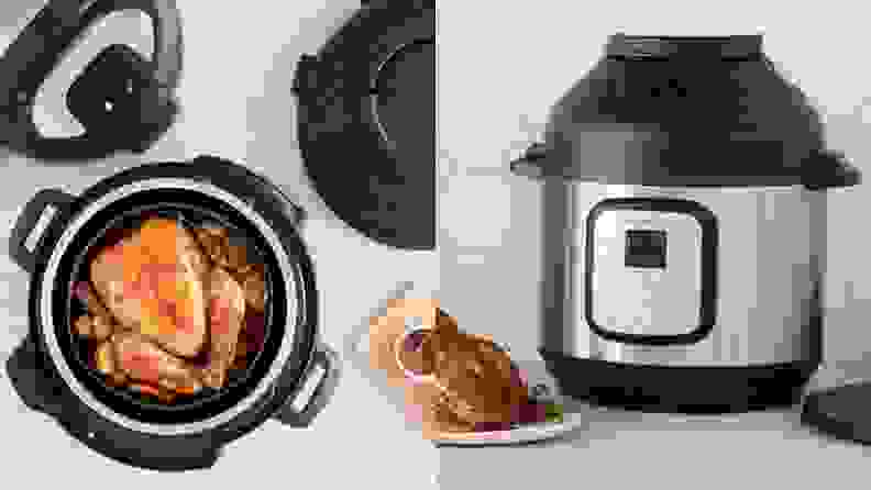 A view from above and from the front of the Instant Pot Duo Crisp
