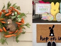 A wreath made of carrots with a bunny in the middle, next to an image of wooden bunnies and a doormat with a bunny on it
